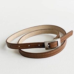 Via Spiga Leather Double Stitched Thin Belt